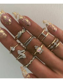 Fashion Golden Water Drop Diamond Alloy Protein Ring Set Of 9