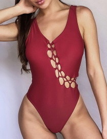 Fashion Wine Red Cross-strap One-piece Swimsuit