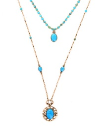 Fashion Gemstone Gold Multilayer Diamond Insect Necklace