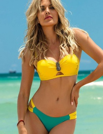 Fashion Yellow Pleated Cutout Tube Top Split Swimsuit