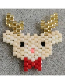 Fashion Off-white Elk Rice Beads Woven Christmas Cane Christmas Stick Accessories