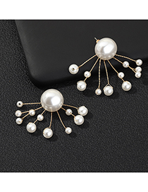 Fashion White Twig Twisted Pearl Earrings