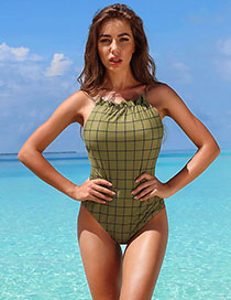 Fashion Army Green Printing Drawstring Fungus Sling One Piece Swimsuit