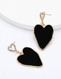 Fashion Black Multilayer Love-shaped Alloy Earrings With Diamonds And Oil Drop