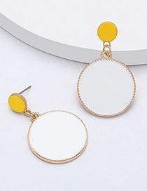 Fashion White Multi-layered Round Alloy Drip Oil Geometric Earrings