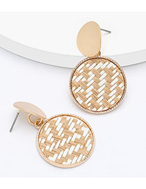 Fashion Brown Multilayer Round Alloy Rattan Braided Earrings