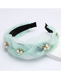 Fashion Green Pearl Wide Rhinestone Flower Headband
