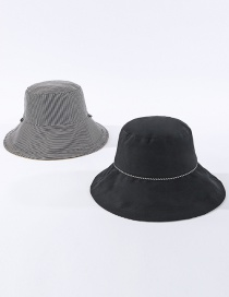 Fashion Black Striped Reversible Fisherman Hat