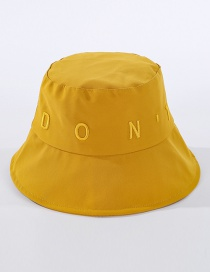 Fashion Yellow Embroidered Letter Fisherman Hat