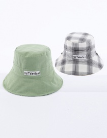 Fashion Green Lattice Letter Embroidered Double-sided Cotton Foldable Fisherman Hat