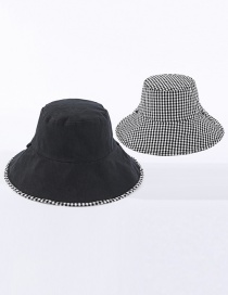 Fashion Black Small Plaid Double-sided Cotton Foldable Fisherman Hat
