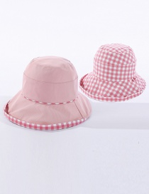 Fashion Pink Checked Double-sided Fisherman Hat
