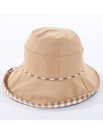 Fashion Khaki Checked Double-sided Fisherman Hat