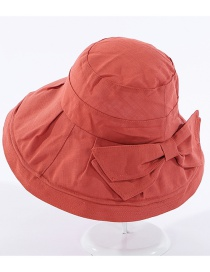 Fashion Brick Red Bow Ruffled Big Brim Visor