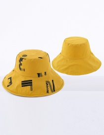Fashion Yellow Letter Reversible Sun Hat