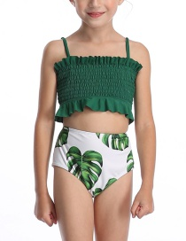 Fashion Green Halter Drawstring Stitching Pleated One-piece Swimsuit For Children