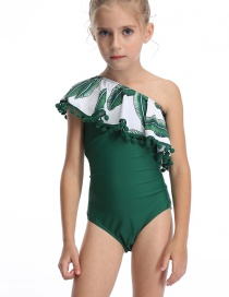 Fashion Green Printed One-shoulder Ruffle Stitching Fur Ball One-piece Swimsuit For Children