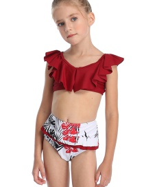 Fashion Red Children's Flashing Split Color Split Split Swimsuit