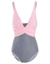 Fashion Pink + Stripes Deep V Lace Up Cross Panel One Piece Swimsuit