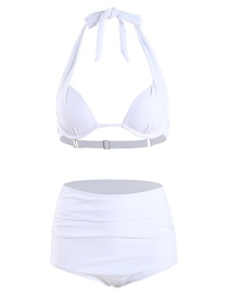 Fashion White Hard Pack High Waist Halter Split Swimsuit