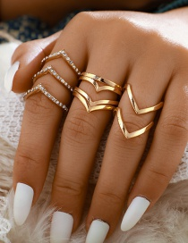 Fashion Golden Geometric Ring Set Of 5