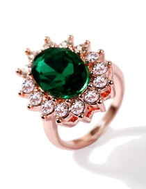 Fashion Rose Gold Inlaid Synthetic Emerald Ring