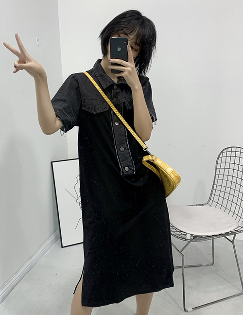 Fashion Black Denim Panel Short Sleeve Dress