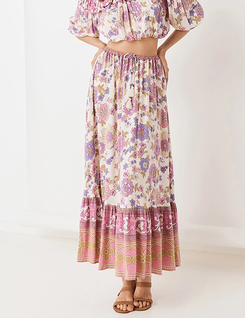 Fashion Color Floral Print Skirt