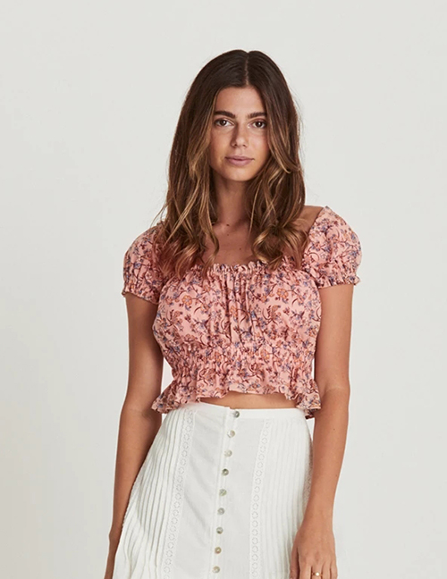 Fashion Printing Flower Print Shoulder Top