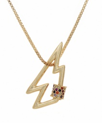 Fashion Golden Cubic Zirconia Geometric Necklace