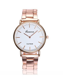 Fashion Steel Band Rose Gold Stainless Steel Ultra-thin Two-hand Steel Band Quartz Watch