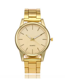 Fashion Golden Alloy Steel Band Large Dial Watch