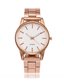 Fashion Rose Gold Alloy Steel Band Large Dial Watch