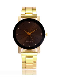Fashion Golden Band Watch With Diamonds