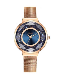 Fashion Blue Fine Mesh Strap Quicksand Quartz Watch