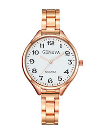 Fashion Rose Gold White Flour Large Dial With Digital Steel Strap Watch