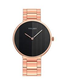 Fashion Rose Gold Black Face Steel Strap Quartz Men's Watch