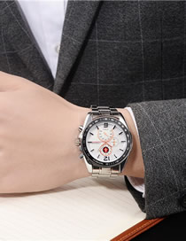 Fashion Flour Large Dial Stainless Steel Waterproof Men's Watch