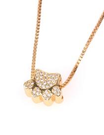 Fashion Golden Cat Claw Diamond Necklace