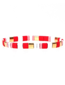 Fashion Red Beaded Lacquered Mixed Color Hand-woven Bracelet