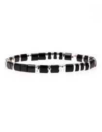 Fashion Black Beaded Lacquered Contrast Hand-woven Bracelet