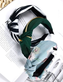 Fashion Color Mixing Striped Fabric Knotted Non-slip Wide Edge Hair Band