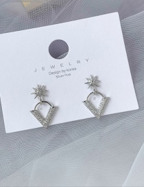 Fashion Silver V-stud Earrings With Diamonds