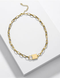 Fashion Golden Alloy Lock Open Chain Necklace