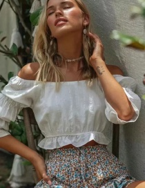 Fashion White Cropped Flare Sleeve Cropped Top