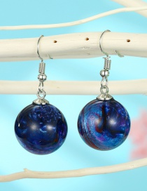 Fashion Blue Starry Sky Resin Ball Alloy Earrings