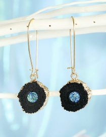 Fashion Black Sun Flower Resin-like Natural Stone Round Alloy Earrings