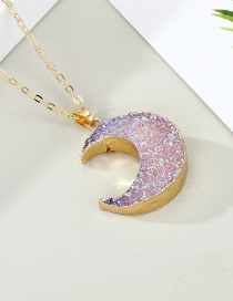 Fashion Pink Ab Color Imitation Natural Stone Moon Alloy Necklace
