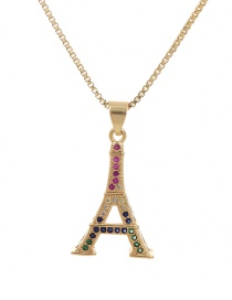 Fashion Golden Cubic Zirconia Tower Necklace