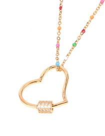 Fashion Golden Micro-set Zircon Love Hollow Stainless Steel Necklace